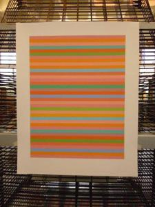 Final proof of 'Rose, Rose', Bridget Riley's Olympics 2012 Screenprint