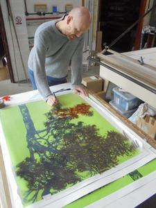 Henrik Simonsen painting another of the eleven artworks needed for 'Pine'.